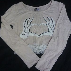 H&M Skelton Heart Crop Top